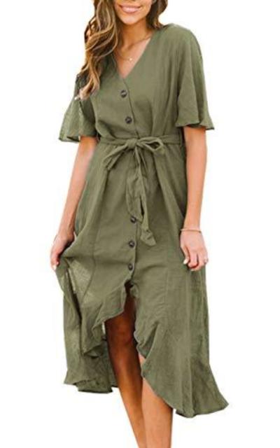 PRETTYGARDEN Ruffle Midi Dress with Belt