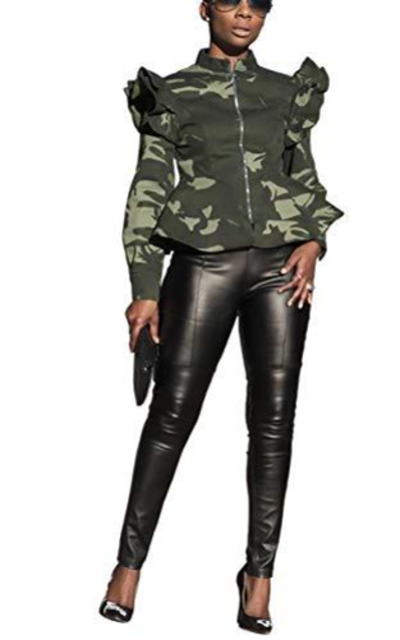 Mycherish Ruffle Camo Jacket