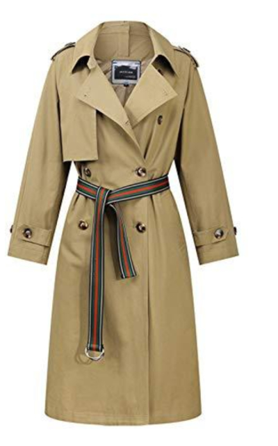 Chartou Double Breasted Trench Coat Belted