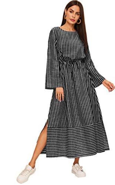 Verdusa Drawstring Waist Maxi Dress