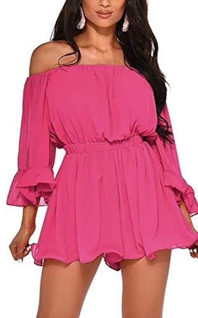 BIUBIU Off Shoulder 3 4 Sleeve Dress