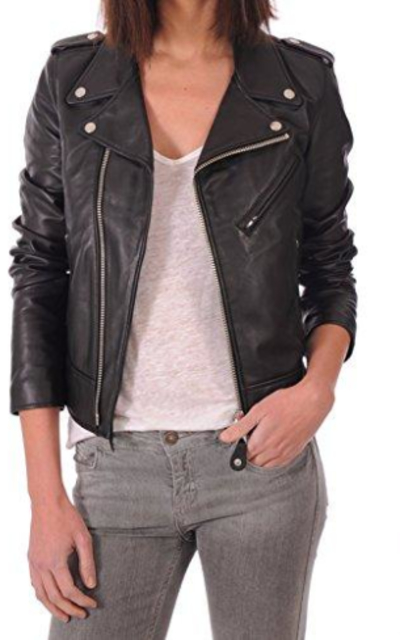 LEATHER FARM Lambskin Leather Bomber Biker Jacket