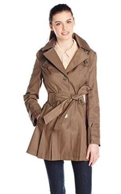 Via Spiga Single-Breasted Belted Trench Coat with Hood