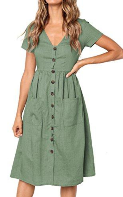 MEROKEETY Swing Midi Dress with Pockets