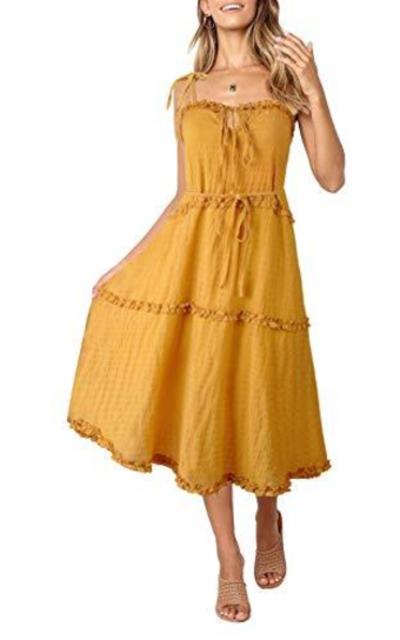 ZESICA Ruffle Midi Dress