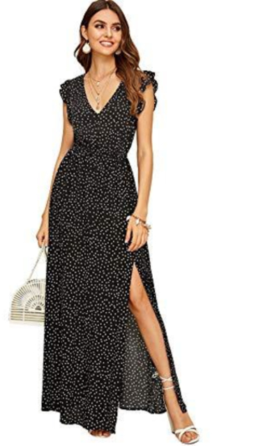 Verdusa Polka Dot V Neck Ruffle Dress