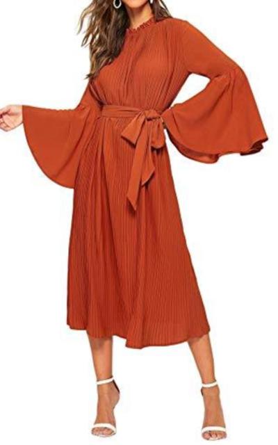 Verdusa  Mock Neck Flare Sleeve Pleated Midi Dress