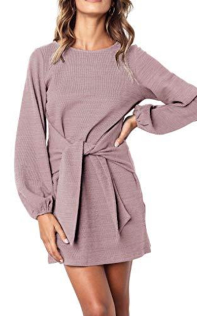 R.Vivimos Tie Waist Sweater Dress