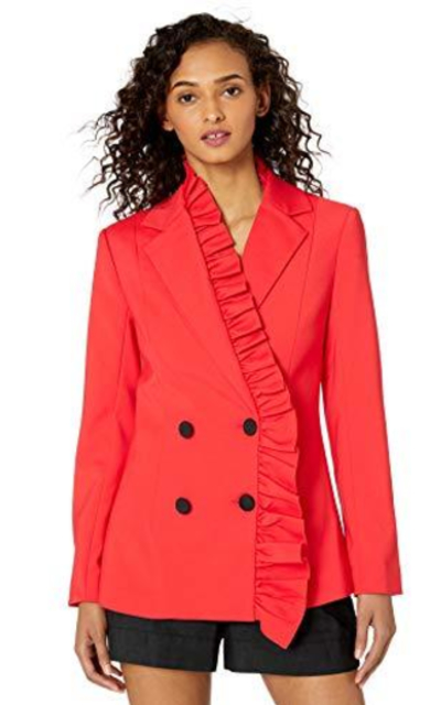 C/MEO COLLECTIVE You or Me Ruffle Trim Double breasted Blazer