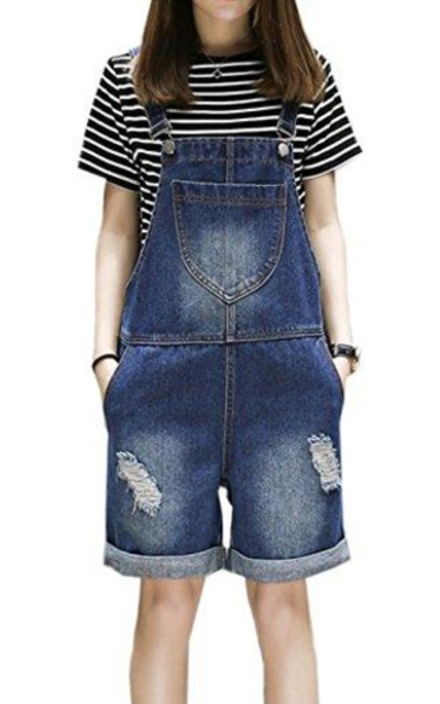 Flygo Distressed Bib Overalls Shorts