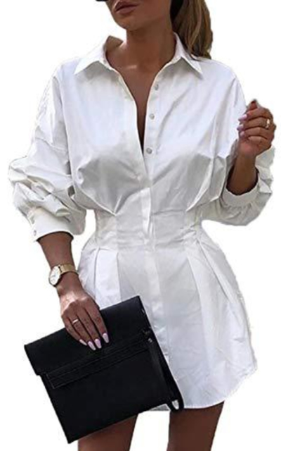 Rozegaga Cinched Waist Mini Shirt Dress