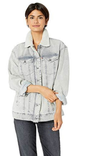 Levi's Oversized Acid Washed Cotton Sherpa Trucker Jacket