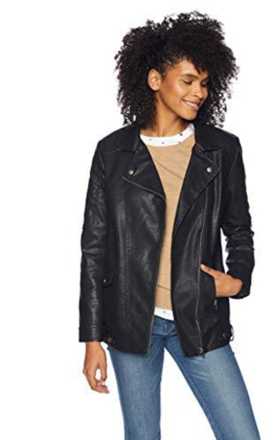 Jack Can't Be Tamed Textured Vegan Leather Long Moto Jacket