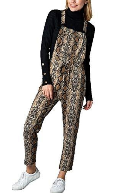 RBBK Snakeskin Print Overall Jumpsuit with Pockets