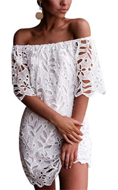 PRETTYGARDEN Off Shoulder Floral Lace Mini Dress