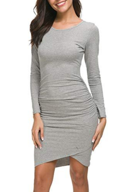 Missufe Long Sleeve Ruched Bodycon Dress