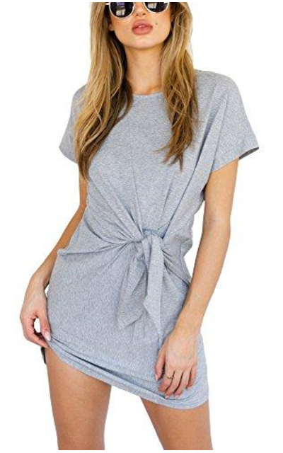 just quella Tie-up Waist T-Shirt Dress