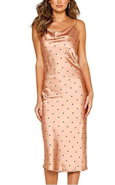 Angashion Silky Satin Slip Dress