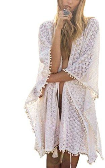 Bsubseach Lace Pom Pom Cover Up