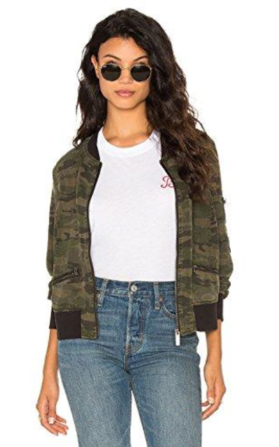Blooming Jelly Camouflage Short Bomber Jacket