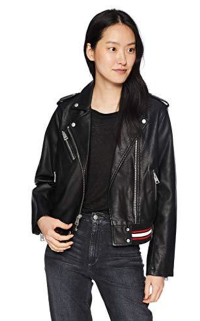 Levi's Contrast Rib Knit Faux Leather Moto Bomber Jacket
