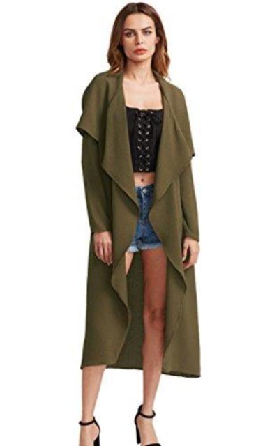 Verdusa Long Sleeve Lapel Trench Coat Cardigan