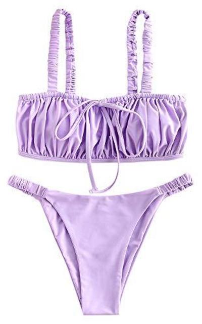 ZAFUL Elastic Strap Ruched Tie Front High Cut Bandeau Bikini Set