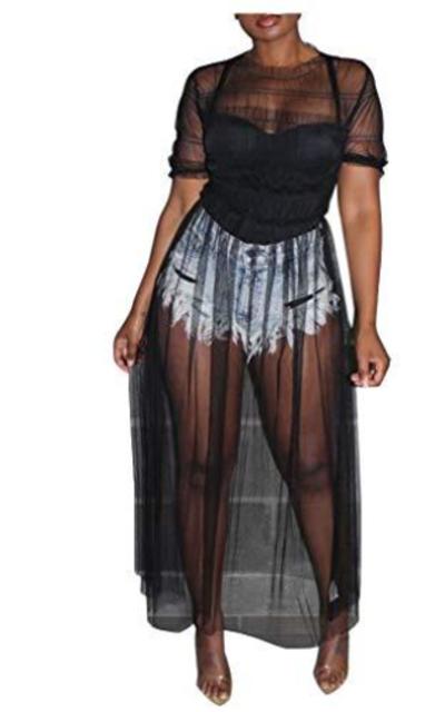 Ophestin Sheer Mesh Maxi Dress