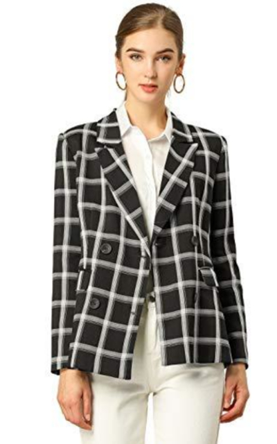 Allegra K Notched Lapel Double Breasted Plaid Blazer
