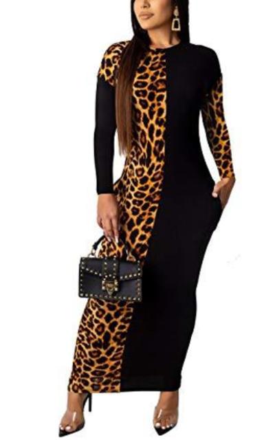 Alunzoem  Leopard Print Dress