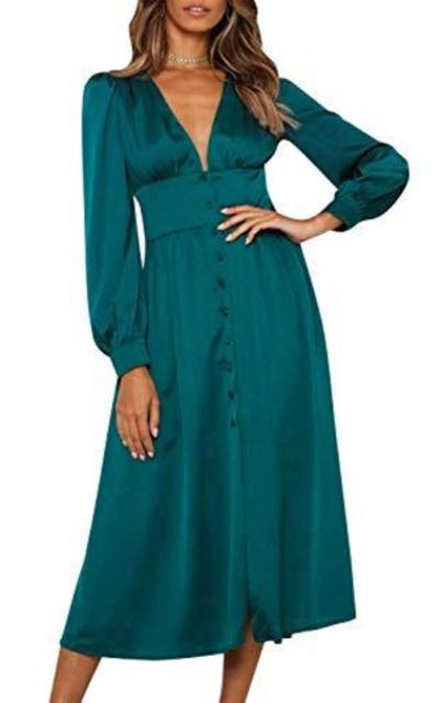 Miessial Deep V Neck Satin Midi Dress