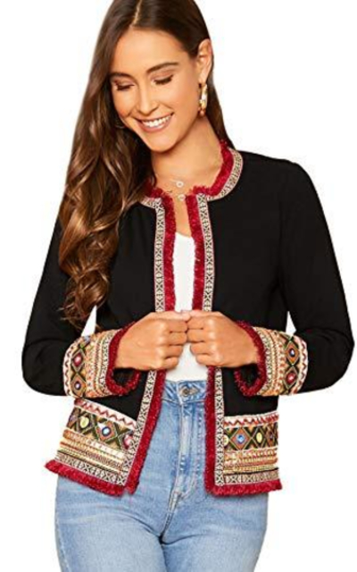 Floerns Open Tribal Print Frayed Trim Jacket
