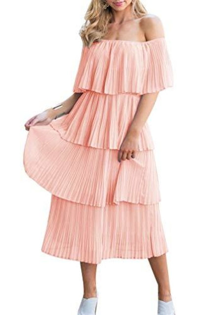 ETCYY NEW Off The Shoulder Pleated Midi Dress
