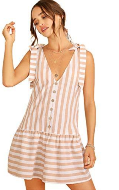 Floerns Sleeveless Button Striped V Neck Tunic Babydoll Dress