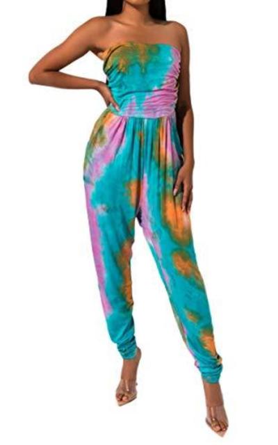 AKIRA Tube Top Tie Dye Jumpsuit