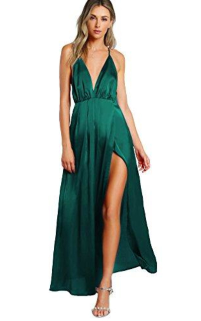 SheIn  Sexy Satin Deep V Neck Backless Maxi  Dress