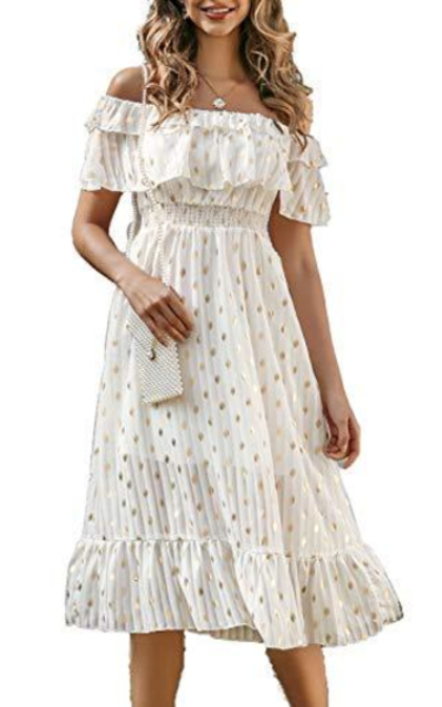Simplee Off Shoulder Ruffle Long Dress
