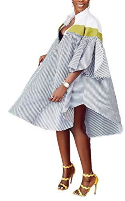 SAMACHICA Oversized Striped Shirt