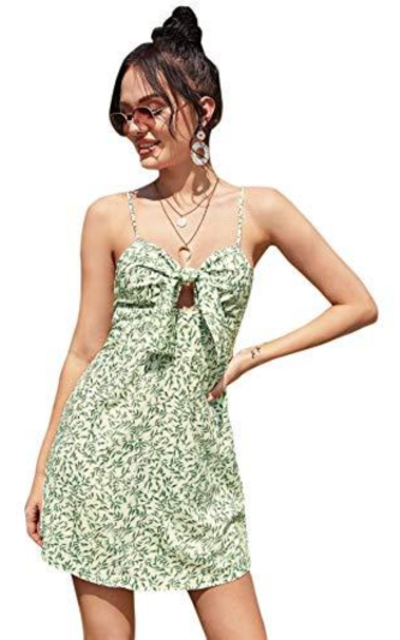 Floerns Floral Print Knot Front Short Cami Dress