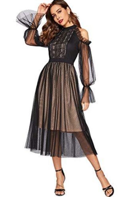 ROMWE Ruffle Sleeve Cold Shoulder Dot Mesh Dress