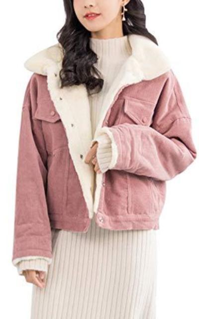 Gihuo Corduroy Sherpa Fleece Lined Jacket