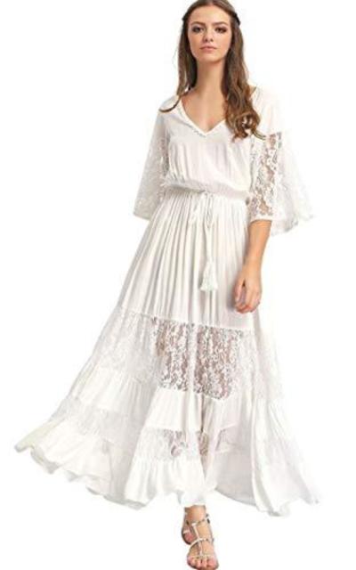 Milumia Bohemian Drawstring Waist Maxi Dress