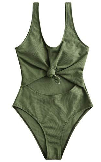 ZAFUL Tie Knot Front Ribbed One Piece  Swimsuit