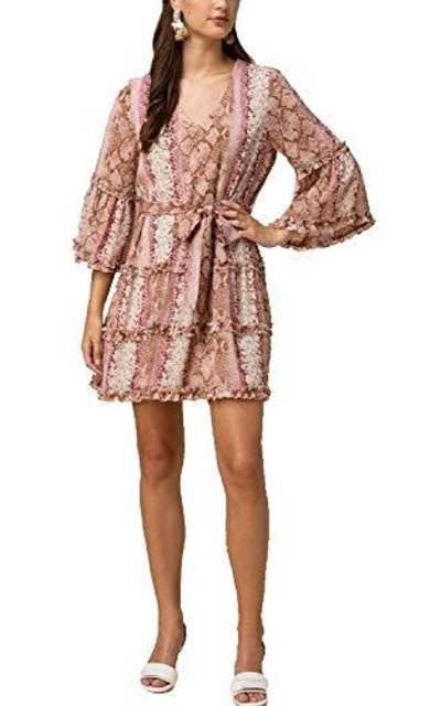 Snakeskin Print Ruffle 3/4 Bell Sleeve Dress