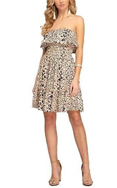 Avvio Off Shoulder Leopard Dress