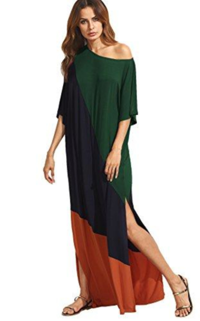 Verdusa Color Block Maxi Dress