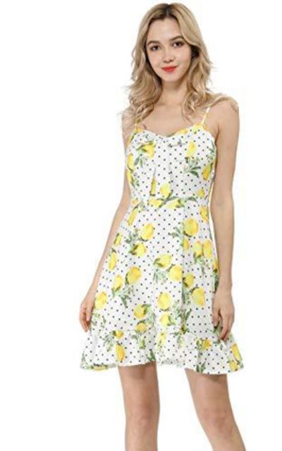 Allegra K Ruffle Lemon Polka Dot Dress