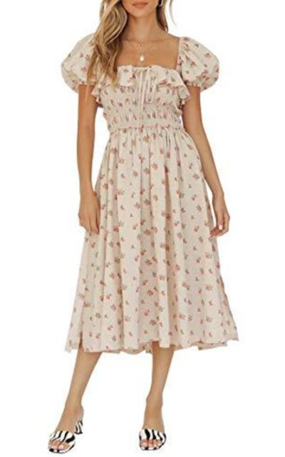 R.Vivimos Puff Sleeves Vintage Ruffles Midi Dress