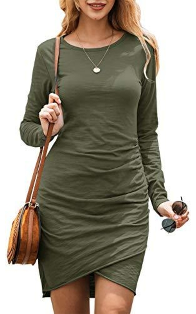 BTFBM Ruched Bodycon Long Sleeve Short Dress