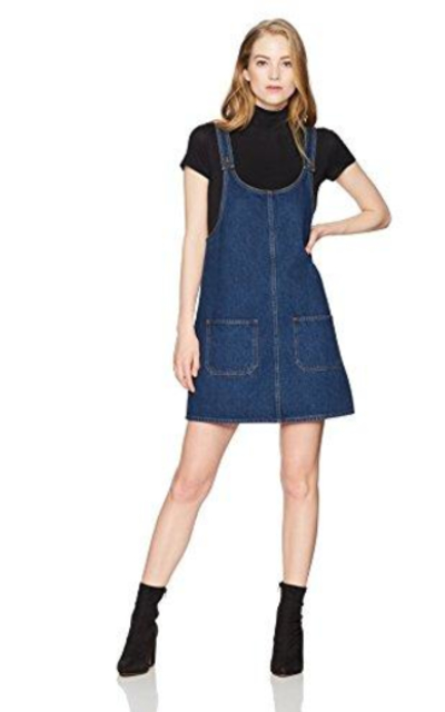 Lily Parker Denim Bib Overall Dress with Pocket